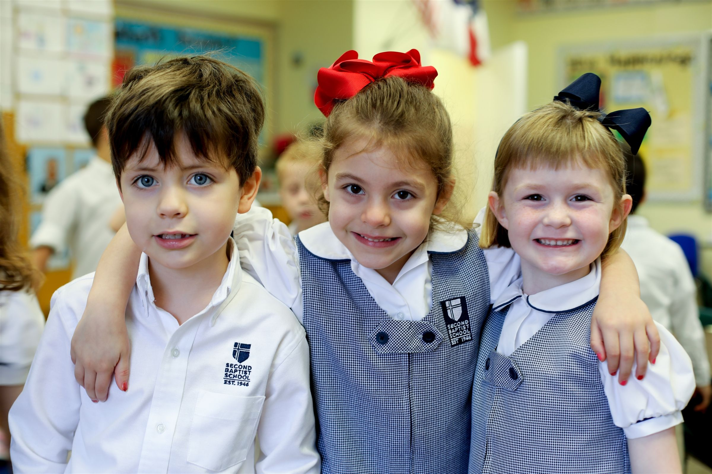 Lower school students gathered together in the classroom at Second Baptist School