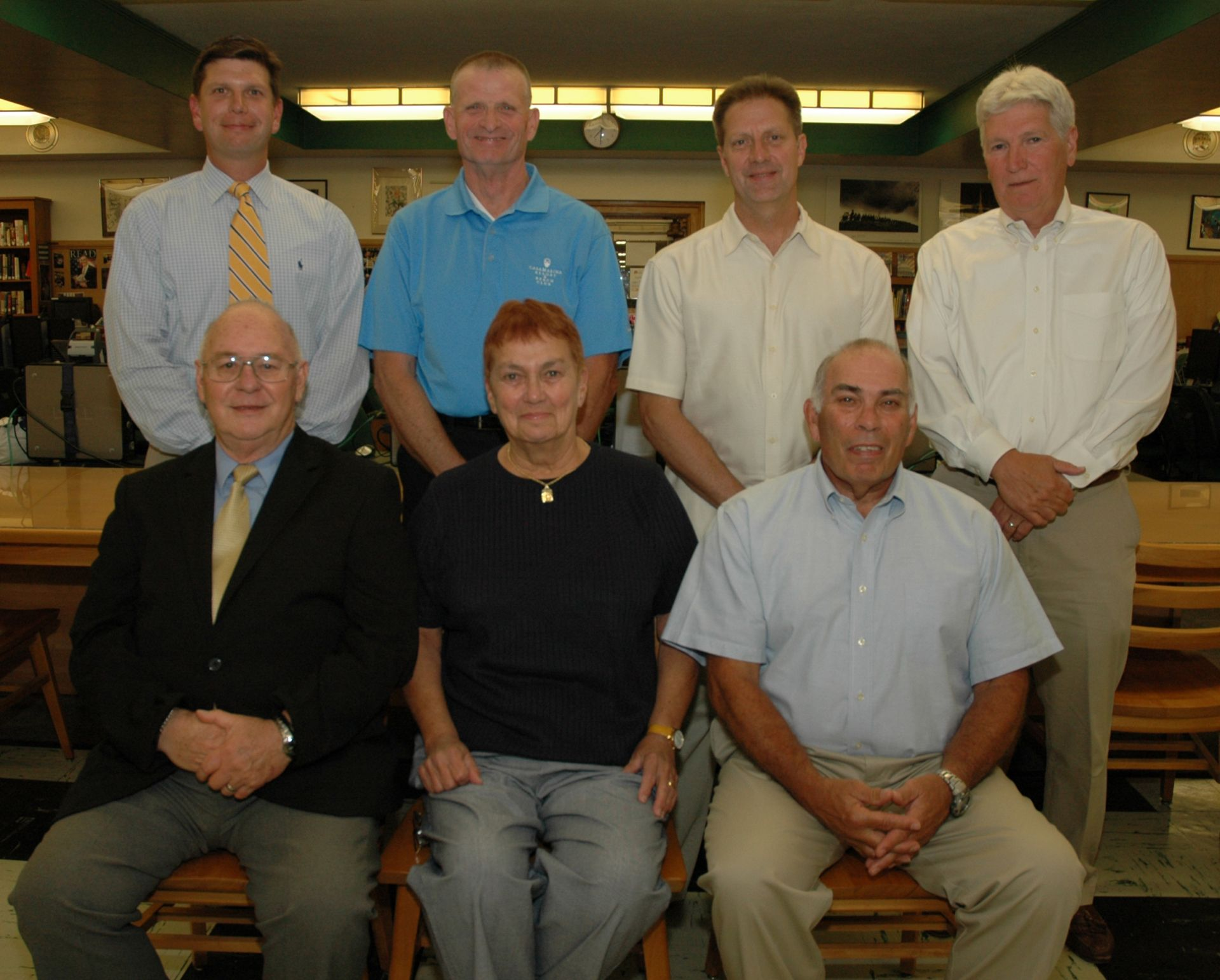 2010 Honorees Pictured are (seated): John Grussler, Barb Major, representing the '77 Girls Basketball Team and Gary Dambro (standing): Scott Kmiec, Michael Drulis, Dave Ungrady and Gene Hayman, representing the '66 - '67 Boys Soccer Team