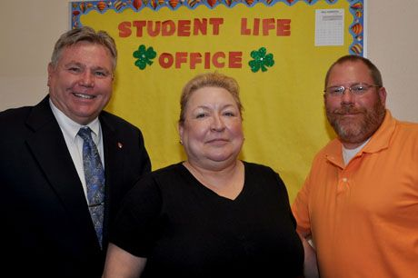 Meet the Student Life staff. From left to right, David McWilliam, Assistant Administrator for Student Life, Melanie Tysowski, Student Life/Attendance Clerk and Joe McLaughlin, Attendance/Cafeteria Monitor and Head Boys