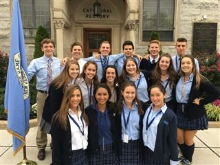 Students representing Notre Dame at the Bishop's Mass