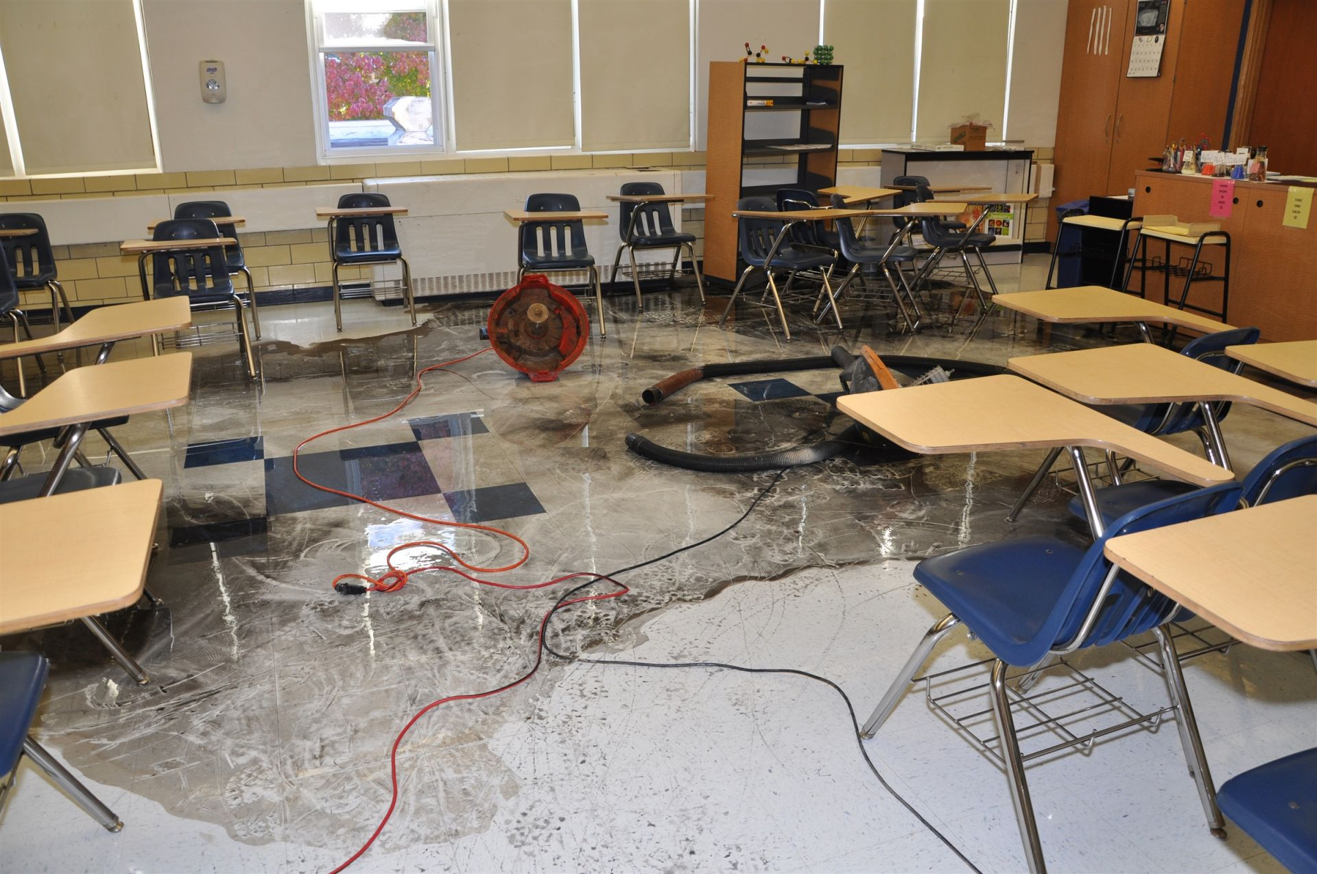 Chemistry room that flooded the library.... where was Mr. Carroll at the time... hmmm.