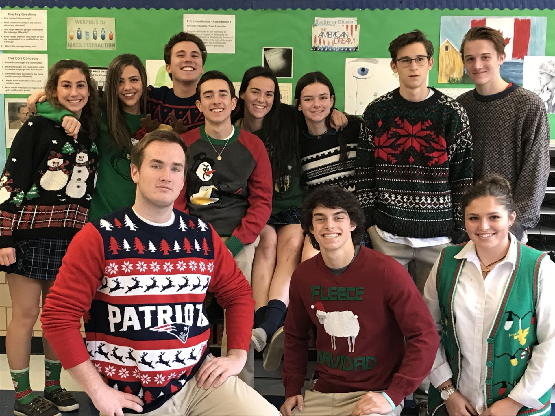 Mass Media and Communications class has THE UGLIEST Ugly Sweaters!