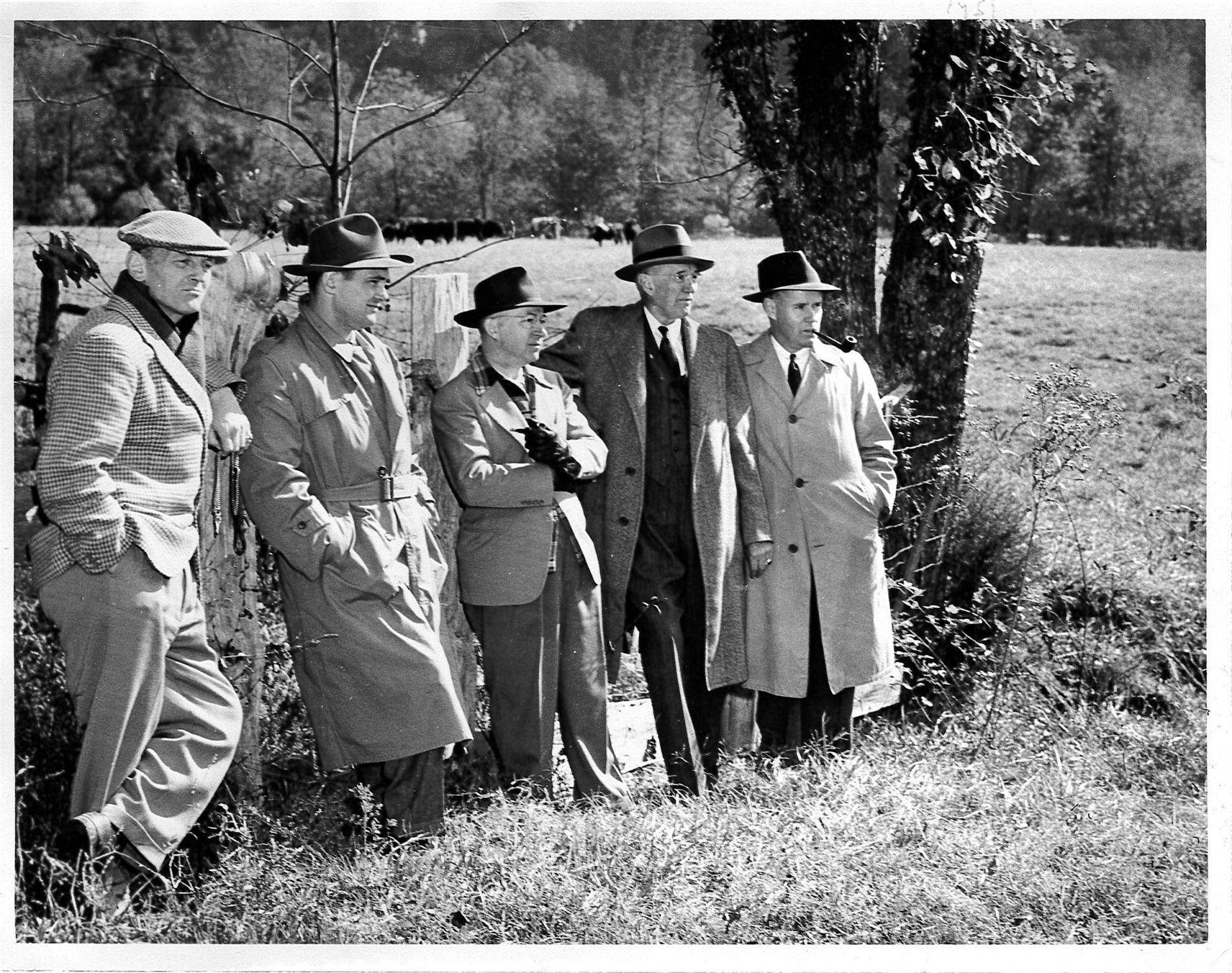 Carl Rust Parker (second from right), a partner with the famed Olmsted Brothers landscape architecture firm, visited in 1950–51 to sketch out the site plan for the campus. The Olmsted Brothers were sons of landscape architect Frederick Law Olmsted, designer of Central Park.