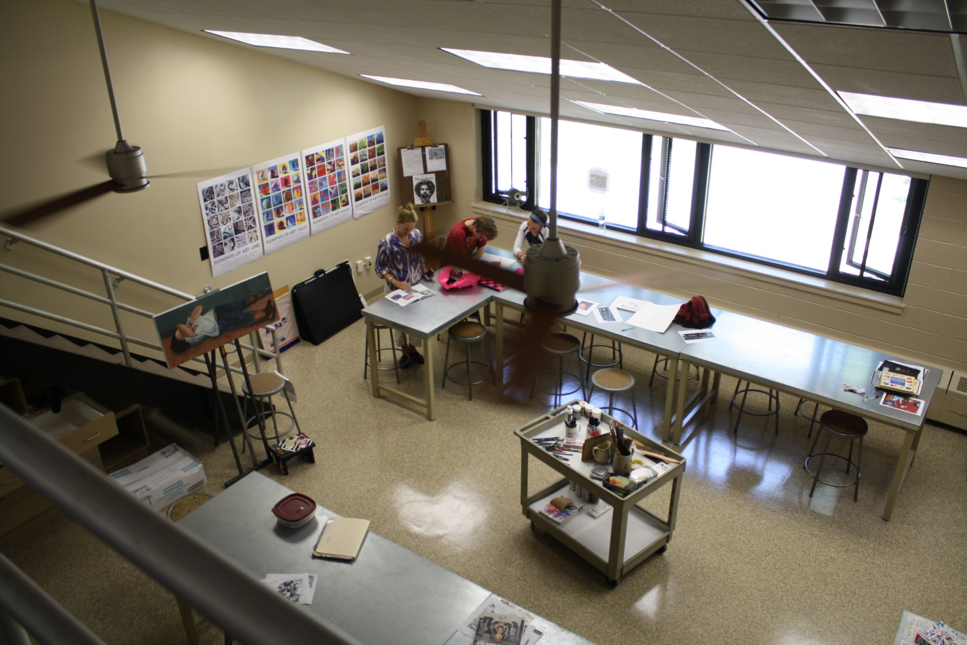 One of three art studios on campus, visual art classes meet here for students in Grades 8-12.