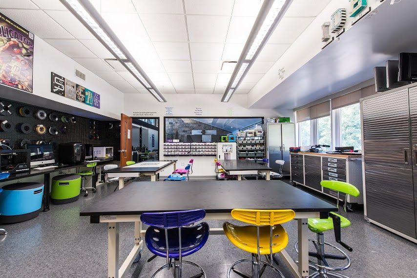 The IDEAS Lab (Innovation, Design, Engineering, Art, Science) allows students to investigate hands-on learning in a designated maker space that serves as an extension of the STEAM curriculum; Desktop 3D Printers and much more are available for student use.