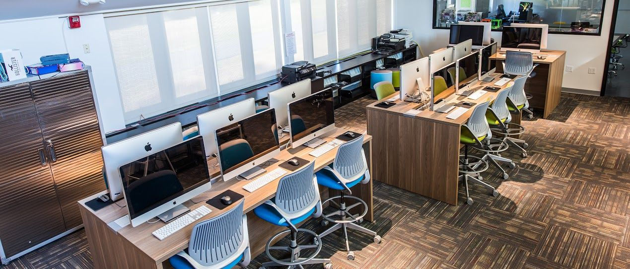The Graphic Arts Studio houses over sixteen Apple desktops and is open to students in Grades 4-12 for regular course work or special projects.