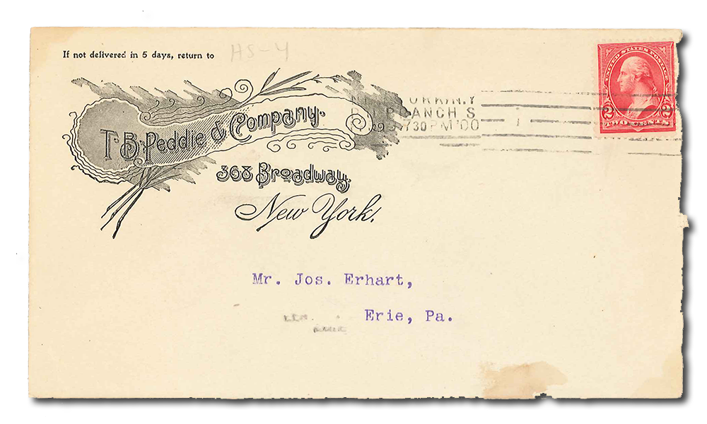 Scan of original T.B. Peddie & Company envelope, postmarked 1900.