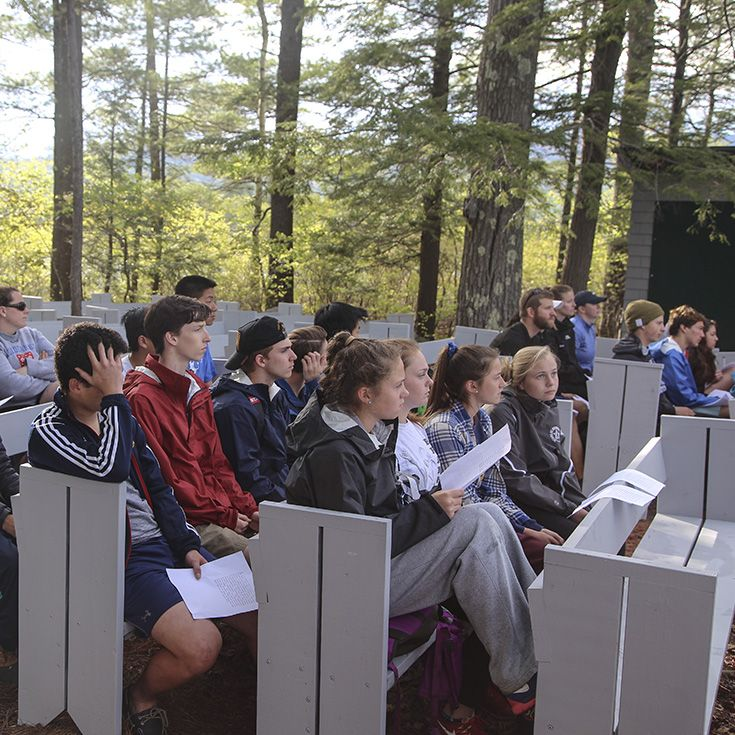 Ninth Graders at Chocorua Island Chapel on Squam Lake