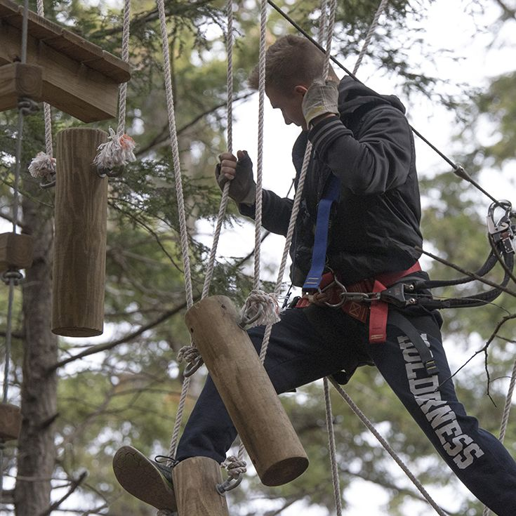 Ninth Graders on the Loon Ropes Course