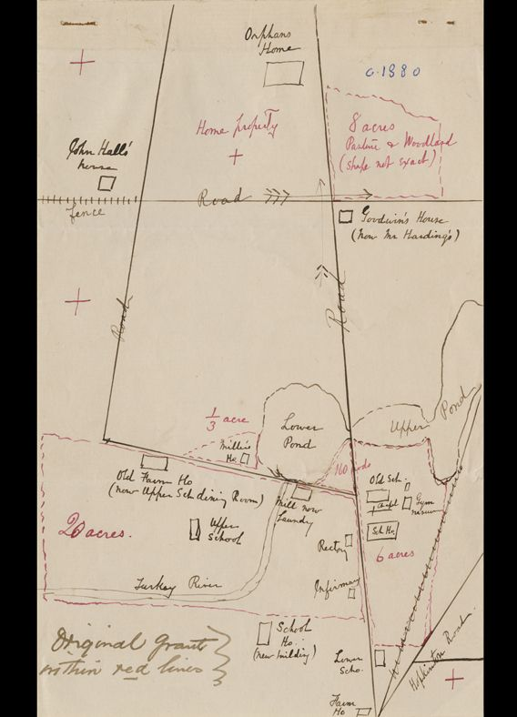 "On this hand-drawn map, <br>the ""Mill now Laundry"" beside the <br>""Lower Pond"" indicates the conversion <br>to new use of the old grist mill."