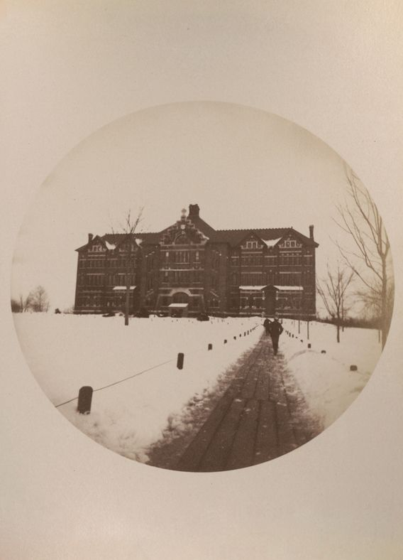 Seen in this 1890 photo, the original School building stood from 1880 to 1929. The current Schoolhouse stands in approximately the same location.