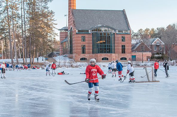 Club Hockey on Lower School Pond