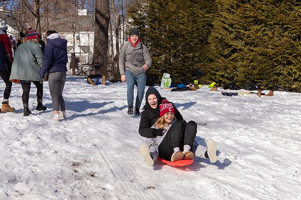 Sledding during Mish Holiday
