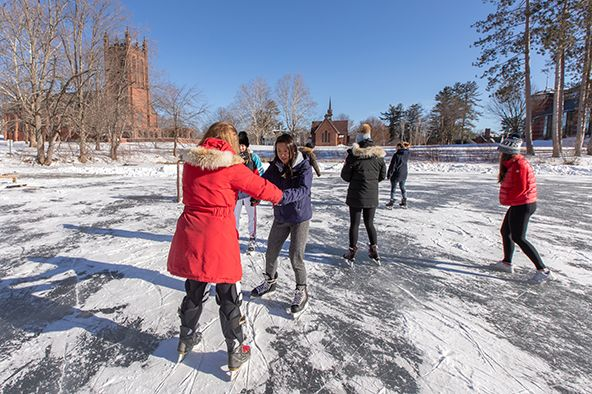 Skating on Lower School Pond