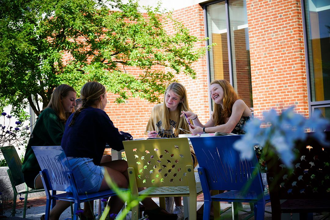 group of students on the patio