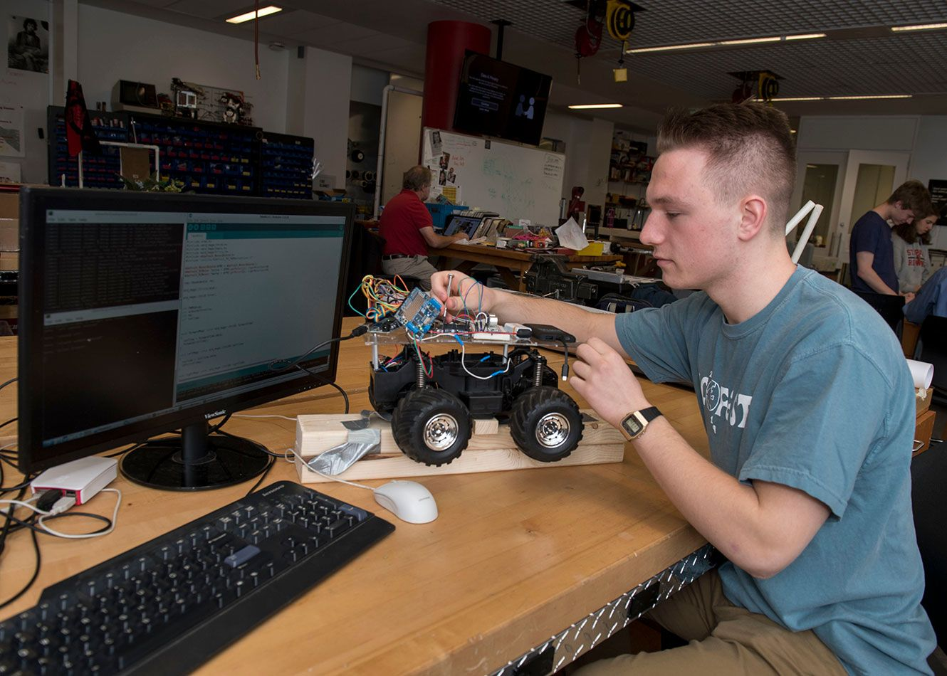 Students in this course work on studying and developing Autonomous Robotic Systems. The VEX Robotics Systems and the EasyC programming System are used to create simple, autonomous robots, and student progress to the FIRST RobotiArcs and Arduino Control systems to create more complex projects.