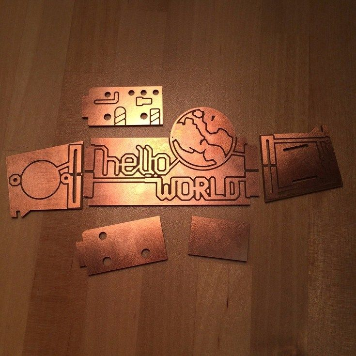 A circuit board milled on the lab's CNC by Toby Satterthwaite. The parts fold together to form a 3D light-up box.