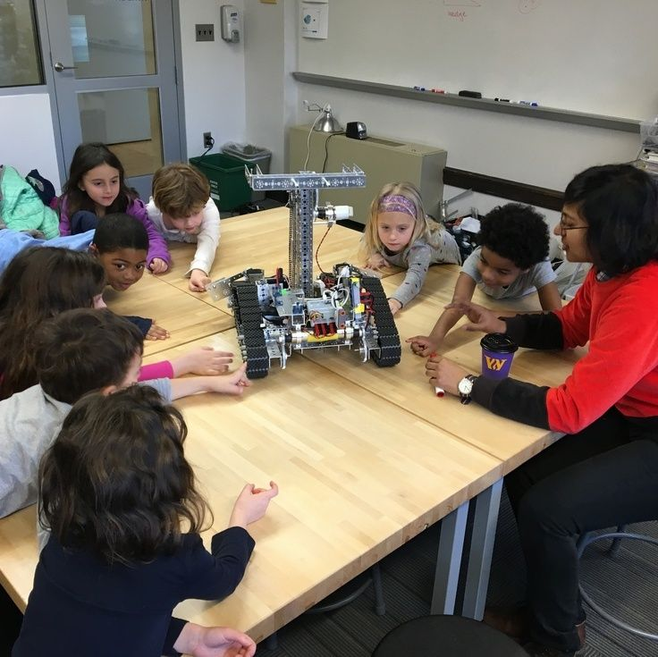 Kindergarten students reverse engineer the Upper School robot before creating their own wheel and axle systems.
