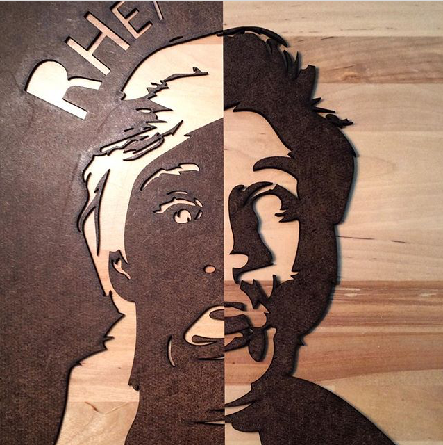 Positive and negative laser-cut masonite stencils, designed by Theo Golstein.