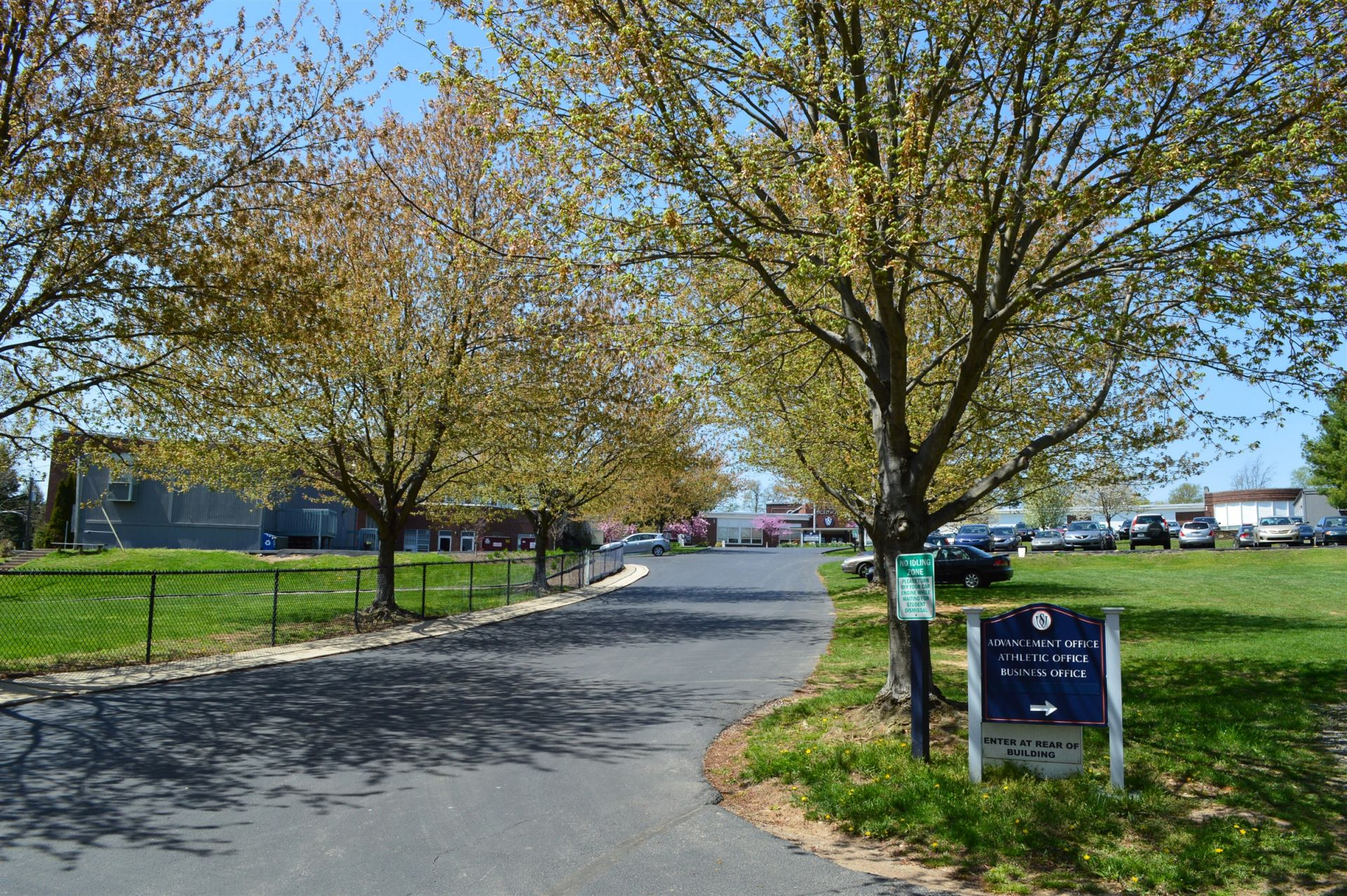 A view from the entrance to campus off of Upper Gulph Road.