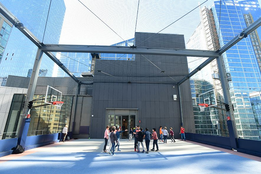 Outdoor space consists of a large roof deck on floor 9 with a large recreation area and a ground-level, 5,000-square-foot courtyard that allows for handball and basketball.