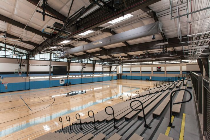 Three-bay gymnasium hosts volleyball games, basketball games and school gatherings.