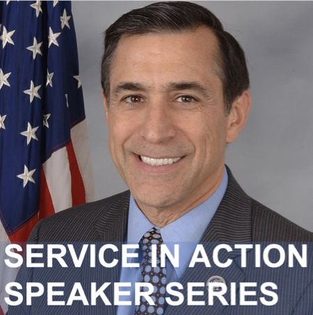 Former U.S. congressman and current congressional candidate Darrell Issa will speak with students about his career of service.