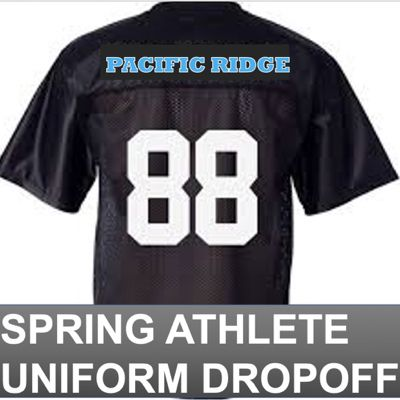 "Spring season athletes are asked to ""drive in and drop off"" their team uniforms. 2:30 to 5:00pm, on campus."