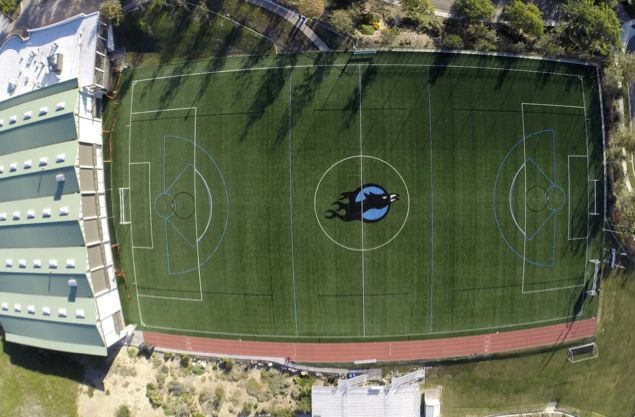 Soccer, lacrosse and flag football games, track practices and Physical Education classes are held on our turf field.