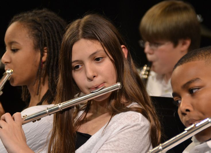 Middle School students hone their music-reading skills with their chosen instrument