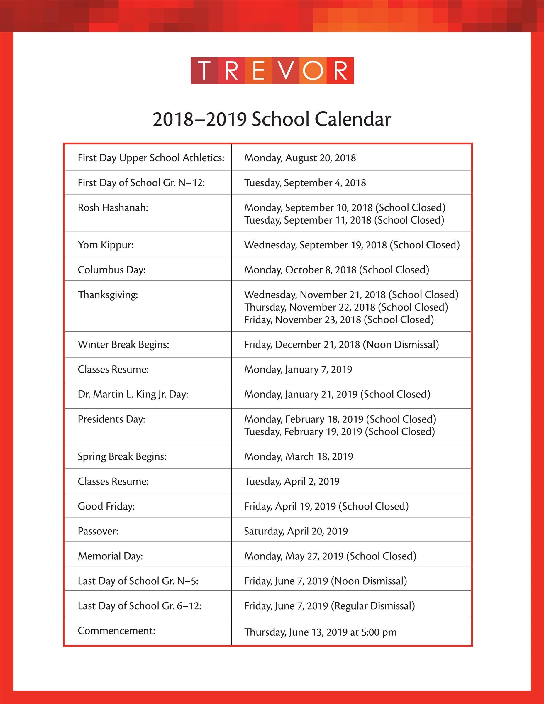 2018 19 academic calendar