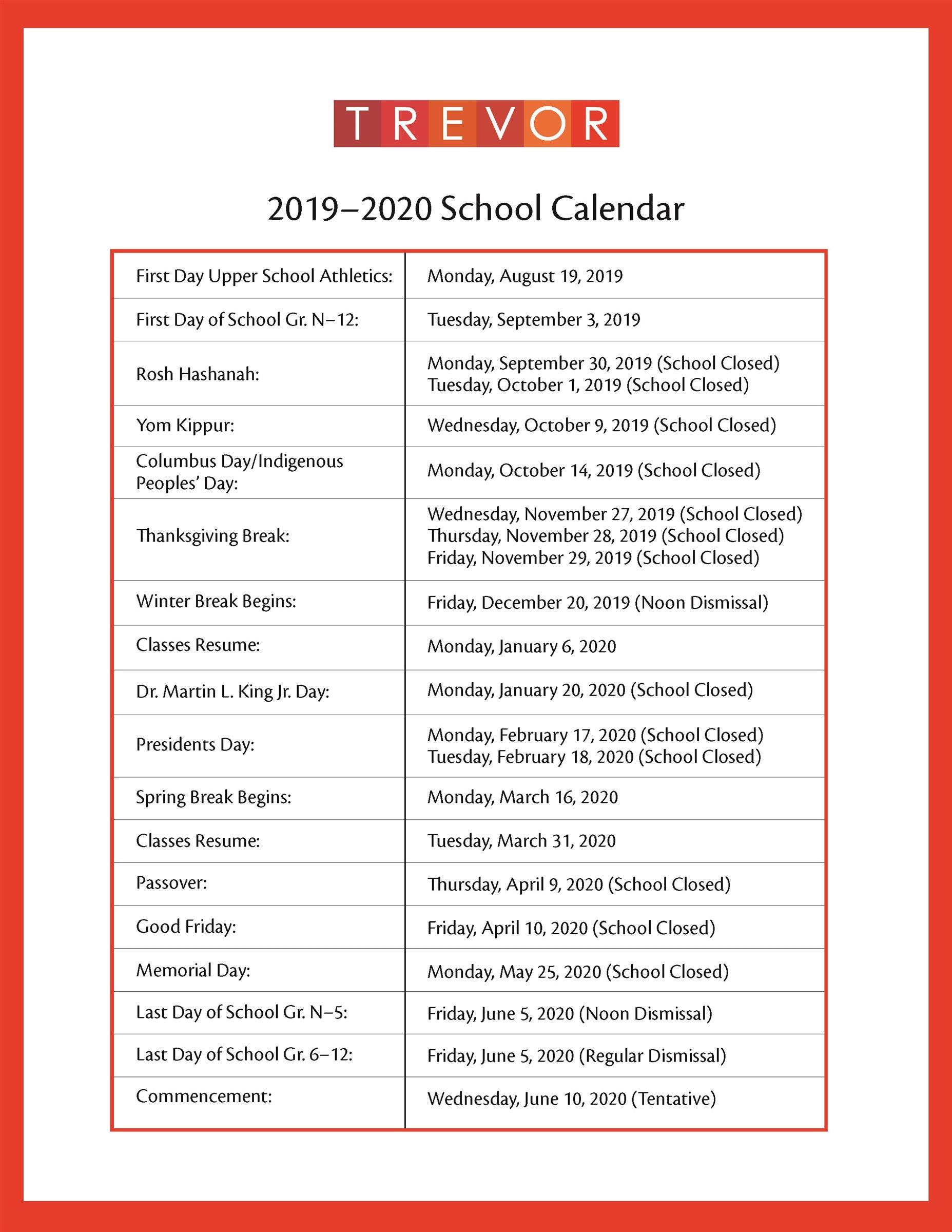 New York Calendar Of Events 2020 2019 2020 Academic Calendar