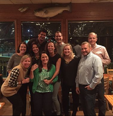 Class of `95 Reunion-Rebecca Morgan Hurt, Katie Parisher Oakley, Kimi Burch Dornan, Kristina Pitsilides Chastain, Kate Wassum Whitehead, Kelly Bulliner Holly, Mike Terry, Matt Lockhart, Josh Harris and John Hallett.