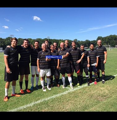 Alumni Soccer Team 2017. Back row:  Scott Ferguson `17 Jonathan Brownbill `16, Grant Stokes `17, Scott Herbert `06, Ryan Crowley, Joe Biava (coach),   Front Row: Barclay Shepard `87, Trey Phillips `87, Rob Dearnley `87, David Holt `91, Jeff Katz `91, Moeun Ben `92, Ken Tankersley `87