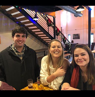 Sam Bateman '13, Claire Bresee '13 and Meredith Rauch '13 at Tradition Brewing