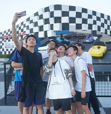 Taking a selfie after go karting!