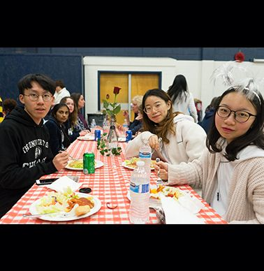 Students enjoyed pasta during Noodle Night.