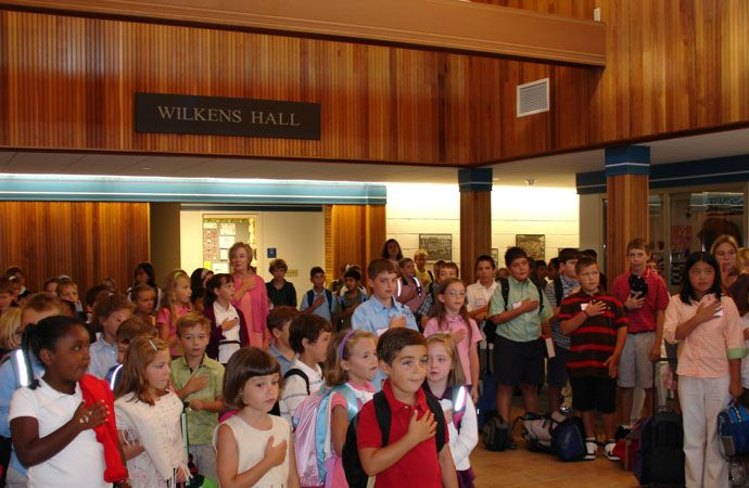 At the beginning of each school day our Lower School students ring the bell and gather for the Pledge of Allegiance and a patriotic song before heading for their classrooms.
