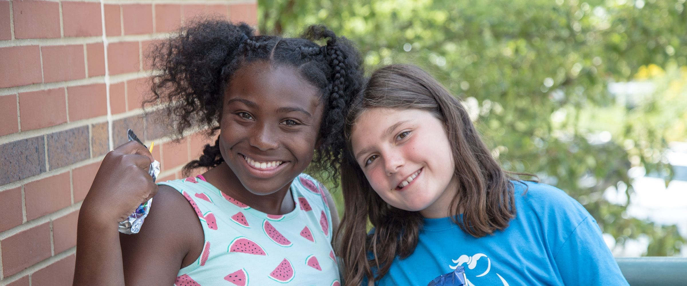 This is a photo of two middle school girls at Ellis Summer Camp.