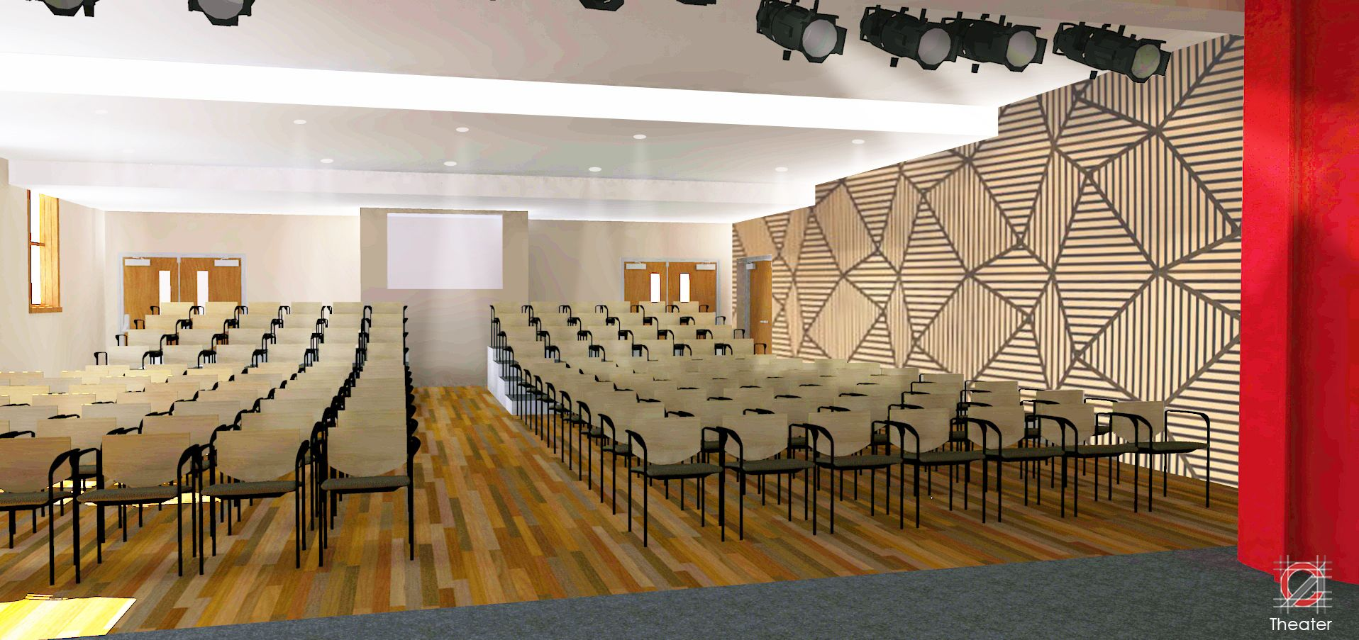 Theater with flexible seating for up to 250 audience members.