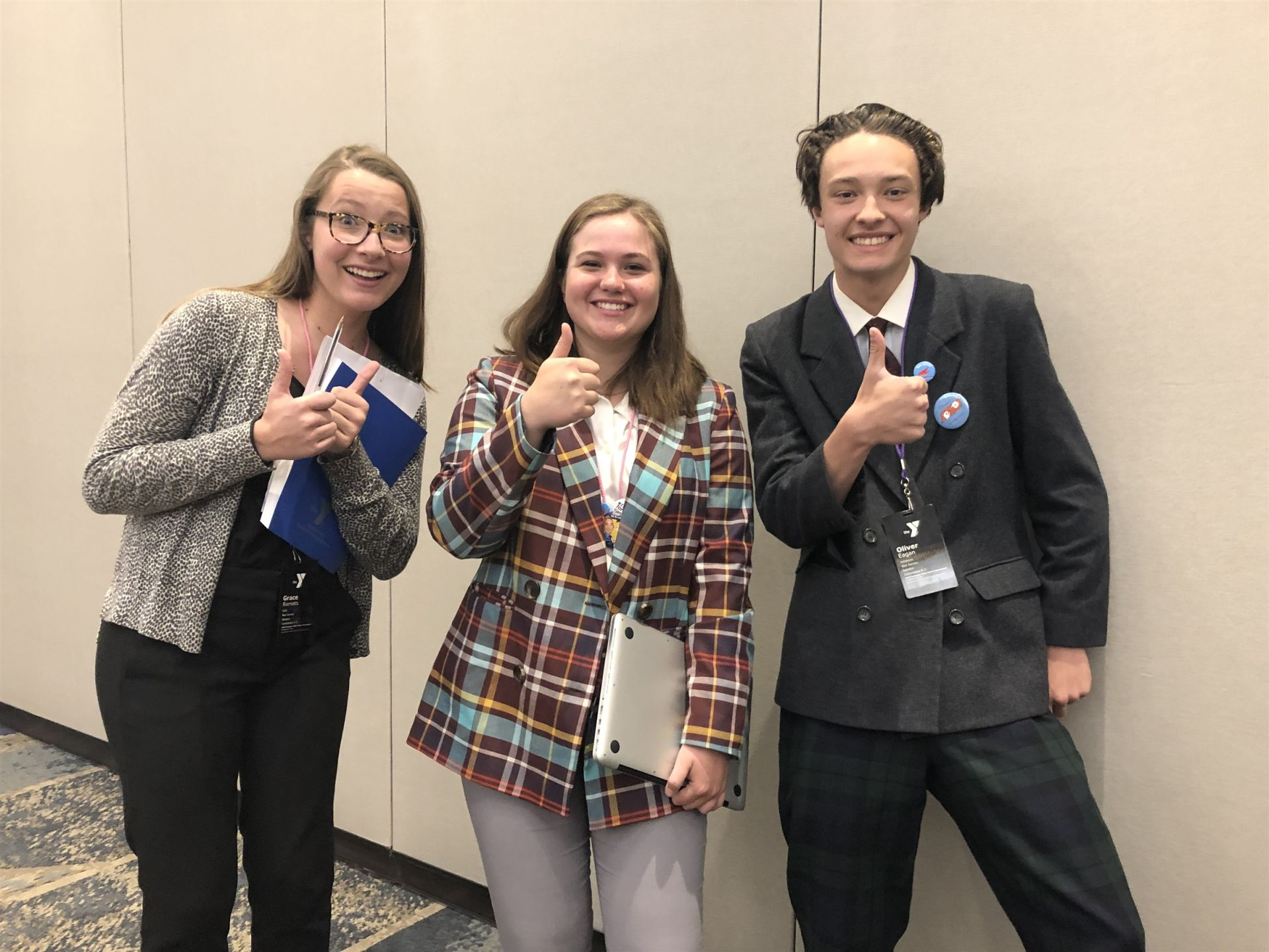 Grace, Ellie, and Oliver (from Hillsboro HS) in committee