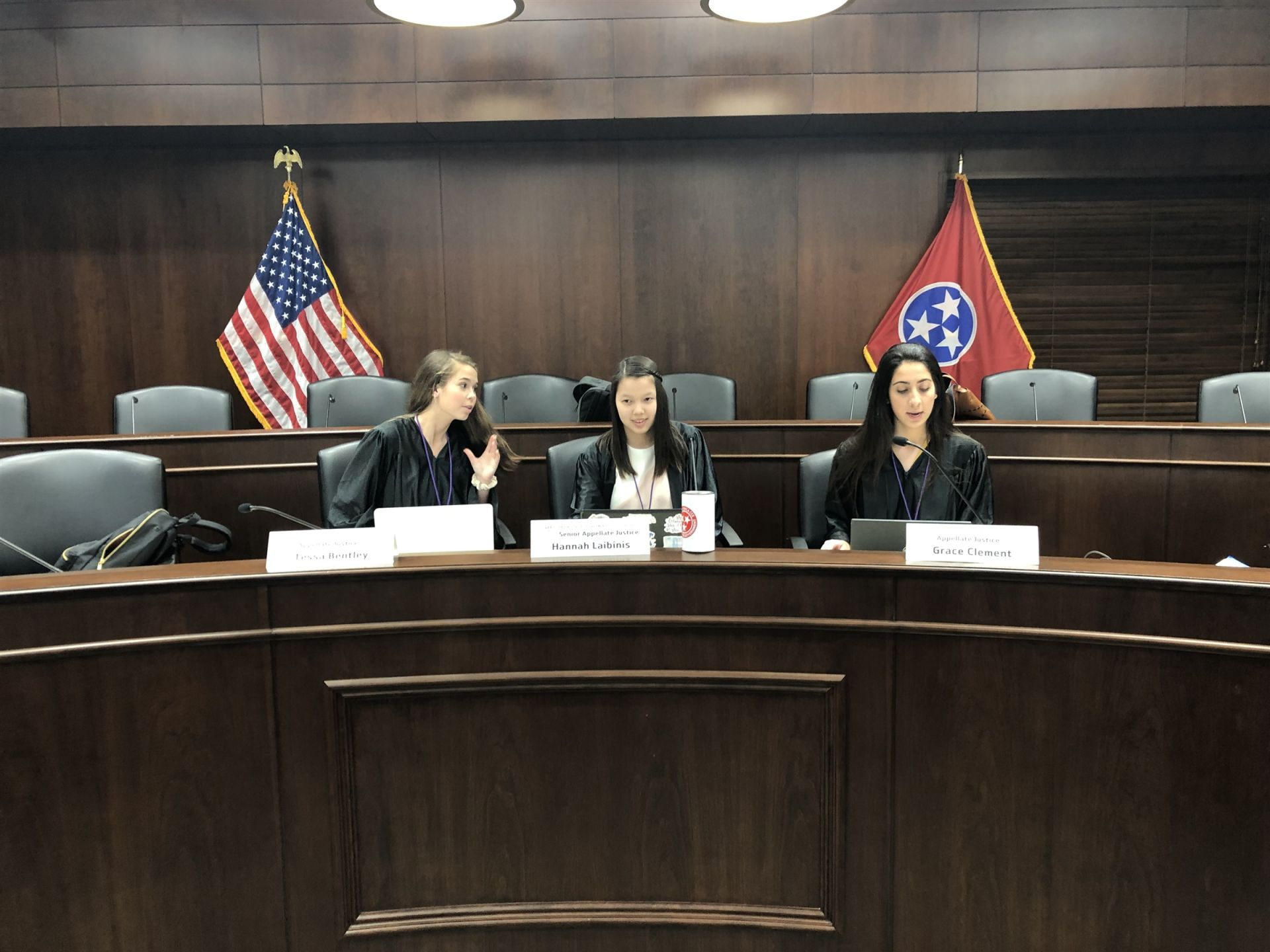 Hannah (center) presides over the Appellate Court