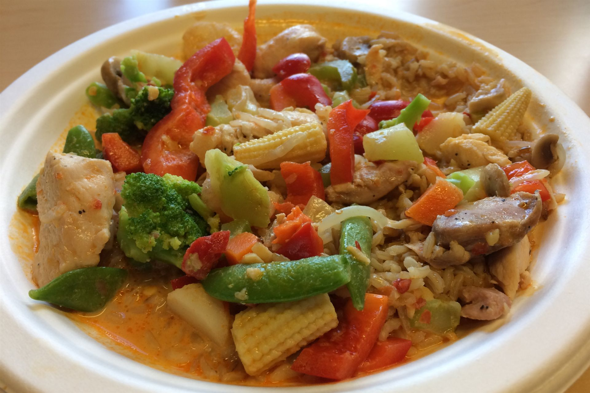 Thai chicken and vegetable curry with brown rice.