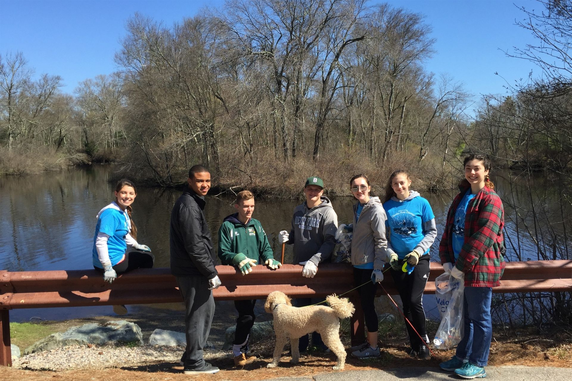 Students volunteering at Earth Day Charles River Cleanup