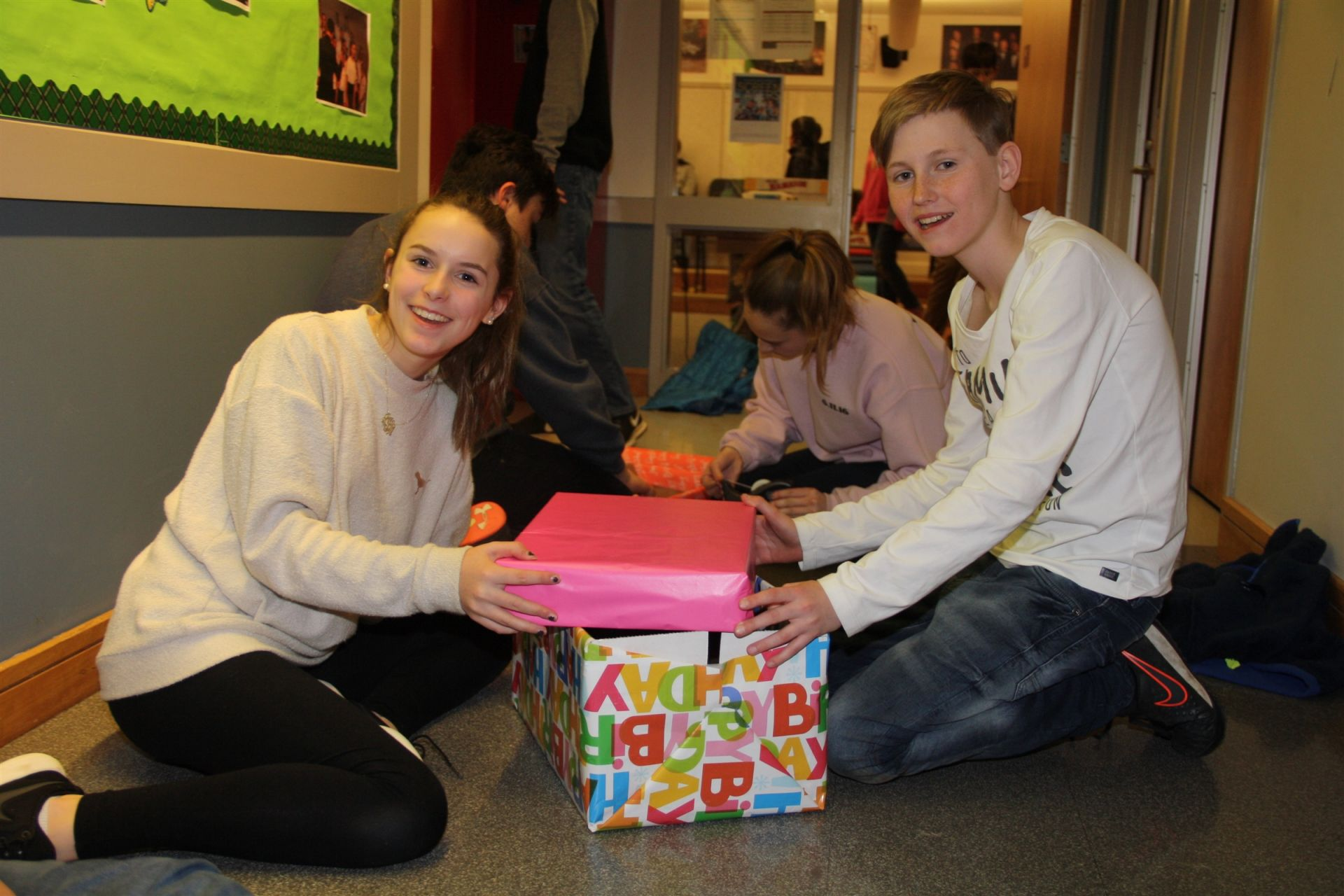 Students preparing for the Birthday Wishes Drive