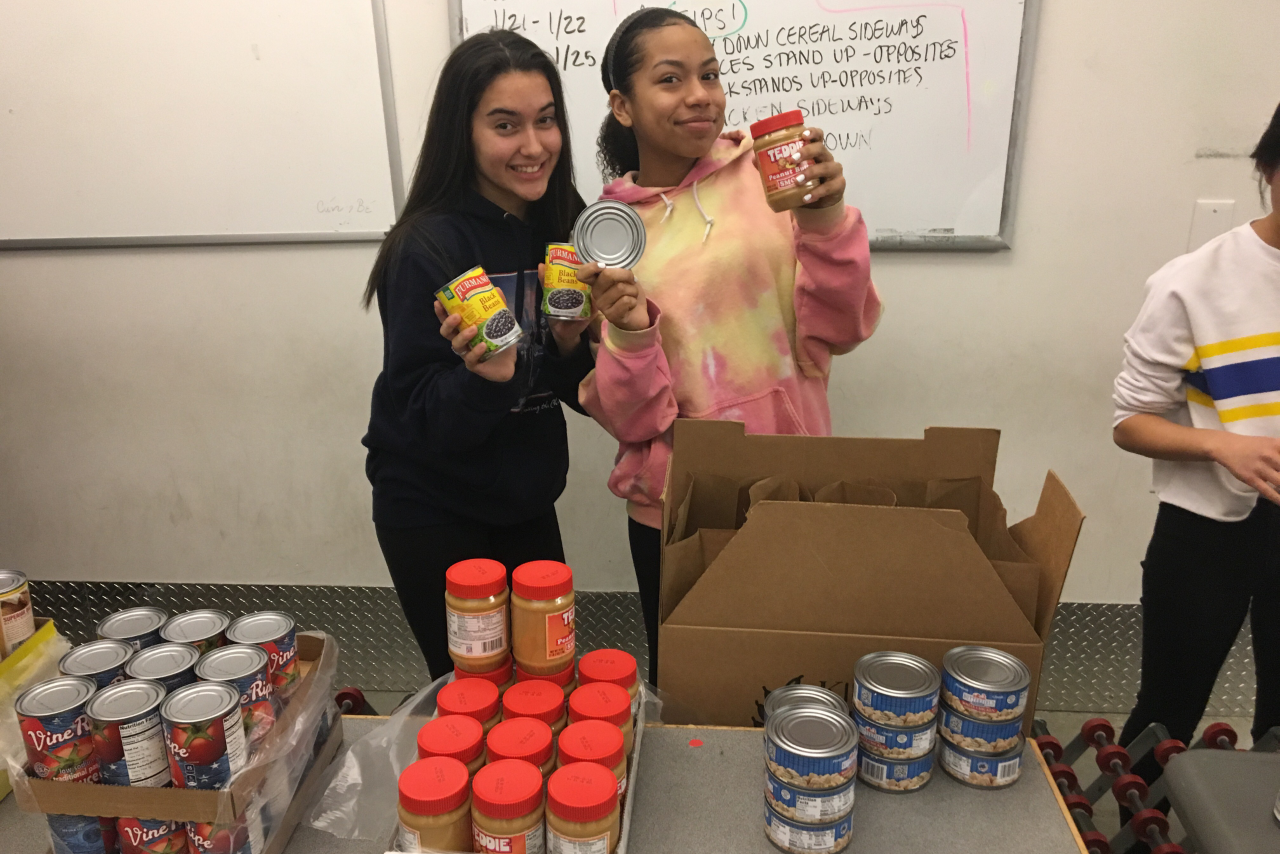 Students volunteering at Greater Boston Food Bank