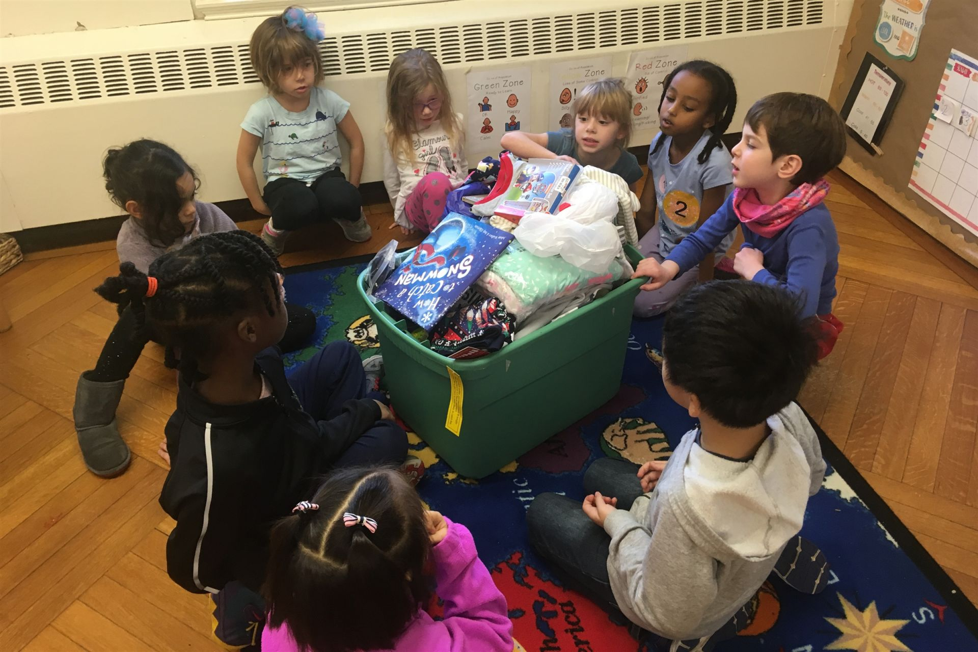 Kindergarten collecting PJs and books for Pajama Program