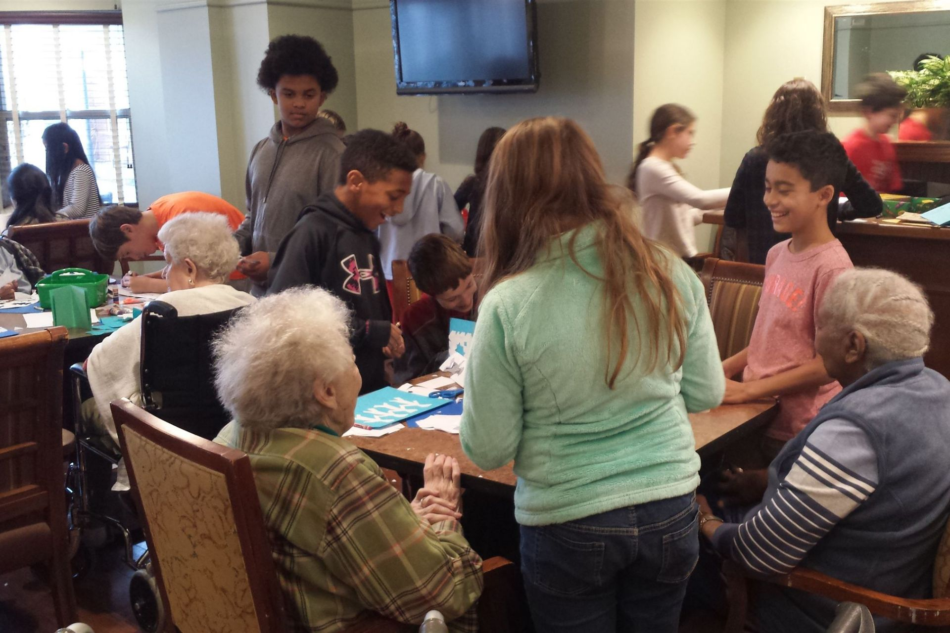 Grade 5 volunteering at a local Senior Center