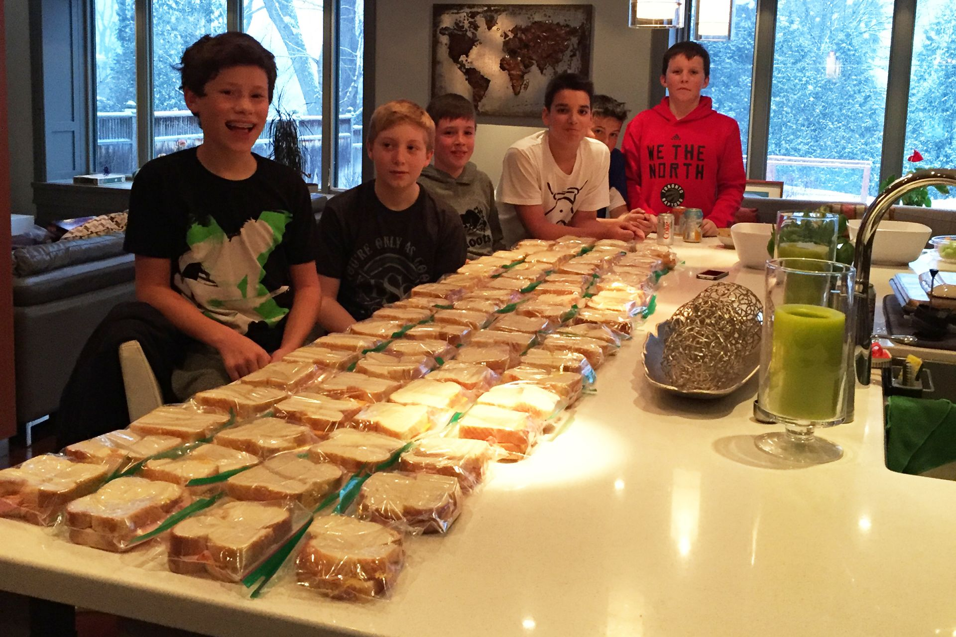 These grade 7 leaders made over 80 sandwiches for Youth Without Shelter.