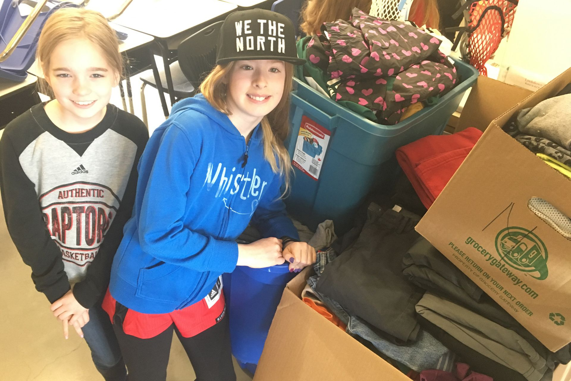 Several grade 5 and 6 students collected clothing to donate to New Circles for distribution to Syrian refugees.